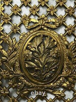 1 Rare Architectural 19th Century Antique Regency Gilt Bronze Front Door Plaque