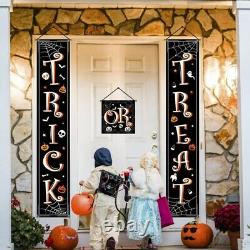 10XHalloween Banner Hanging Decorations Trick or Treat Porch Sign Front Door
