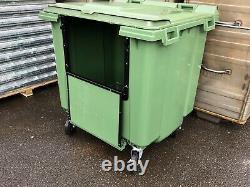 1100 Litre Green Wheelie Bin Lid Lock Drop Front