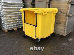 1100 Litre Yellow Wheelie Bin Lid Lock Drop Front