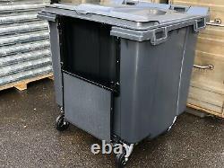 1100 litre Grey wheelie bin Lid Lock Drop Front