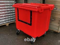 1100 litre Red wheelie bin Lid Lock Drop Front