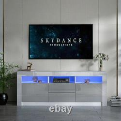 160CM Grey TV Unit Cabinet Sideboard High Gloss Fronts Doors TV Stand LED Light