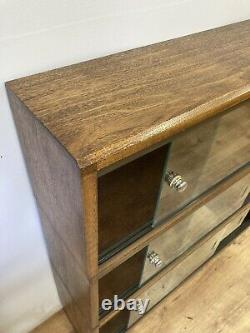 1960's Simplex Medium Oak Stacking Library Bookcase Glass Front. Restored