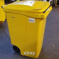 360 Litre Grey body Grey lid wheelie bin with Drop Front access panel