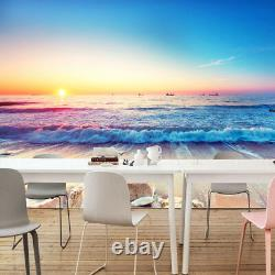 3D Sea View Beach Front Sunset Blue Sky Wall Mural Wallpaper Living Room Bedroom