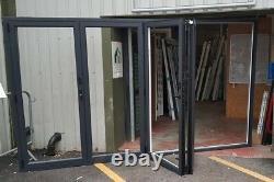 Aluminium bifold doors anthracite grey garden room summerhouse upvc 3620x2100