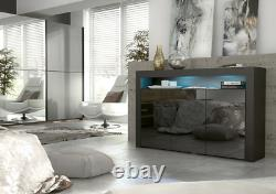 Anderson Sideboard / TV unit / Cabinet Cupboard High Gloss Doors + LED Lights