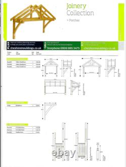 Apex Front Door Porch Canopy Finest Quality Timber 1300mm Inc Gallows Brackets