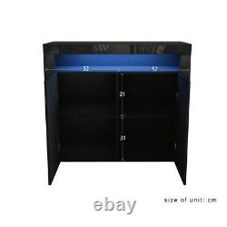 Black 2 Doors Cabinet Sideboard Cupboard High Gloss Fronts Storage RGB LED Light