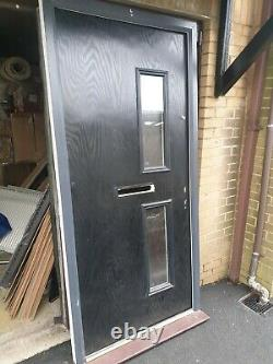 Black Solid Composite UPVC Front Door & Accessories