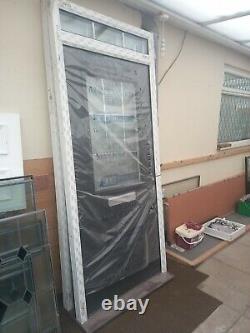 Black composite front door and frame