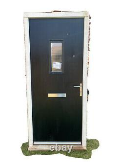 Brand New Black Cottage Style Solid Composite UPVC Front Door & Accessories