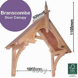 Branscombe Timber Door Canopies-wooden front door porch canopy gallows bracket