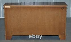 Burr & Burl Yew Wood Faux Drawer Fronted Library Bookcase Sideboard With Shelves
