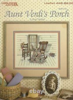 Completed Framed Linen Cross Stitch PAULA VAUGHAN AUNT VERDI'S FRONT PORCH Quilt