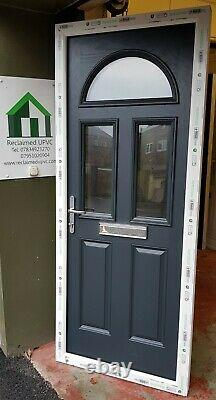 Composite door anthracite grey on white front porch upvc mancave 870x2100 (6370)