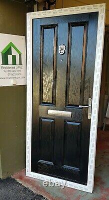 Composite double glazed door Black porch Mancave garden room pvc 898x2050 (6470)