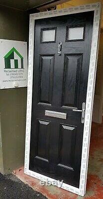 Composite double glazed door black white entrance porch upvc 883x2124 (6359)