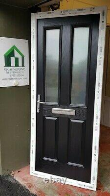 Composite double glazed door black white entrance porch upvc 890x2100 (6358)