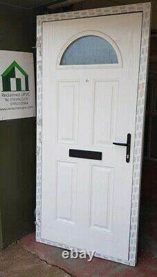 Composite double glazed door black white entrance porch upvc 978x2105 (6185)