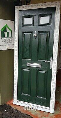Composite double glazed door green porch entrance mancave upvc 902x2077 (6449)