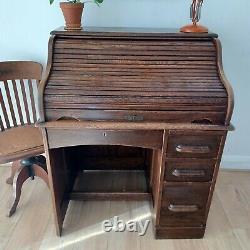Edwardian Victorian Roll Top Writing Bureau Secretary Desk Vintage Tambour Front