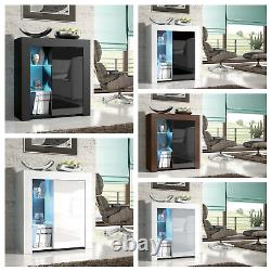 Esme Sideboard Modern Cabinet / Cupboard Matt Body and High Gloss Doors + LED
