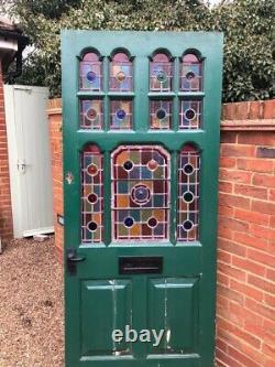 Exterior external Stunning Wooden Original Victorian Stained Glass Front Door