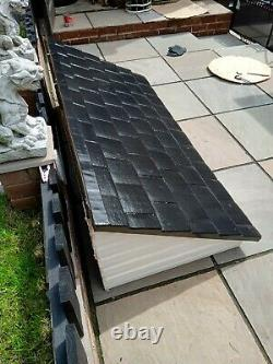 Fibreglass front door porch canopy with gallows and roof with black tiles