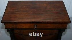 French Victorian Rosewood & Mahogany Bow Fronted Chest Of Drawers Biedermeier