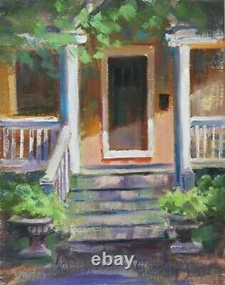 Front Porch Oil Painting House in Midwest Original Oil Urban 8x10 Sue Whitney
