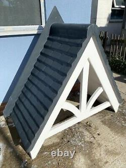 GRP Front Door Canopy Porch Fibreglass Traditional Pitched Black Tile Effect