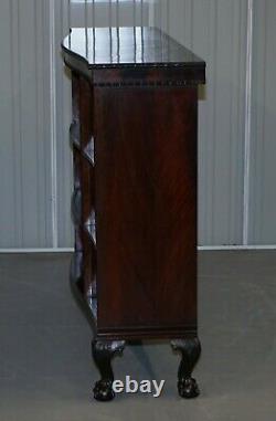 Gardner & Son Circa 1840 Serpentine Fronted Claw & Ball Feet Library Bookcase