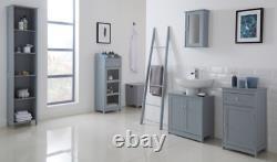 Grey Bathroom Storage Unit Vanity Display Cabinet Glass Front