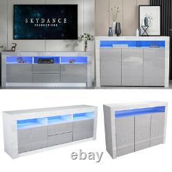 Grey High Gloss Doors Furniture Set TV Unit Stand Cabinet Sideboard LED Light