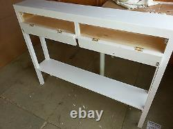 H80 W90 D20cm BESPOKE WHITE SATIN LISBON CONSOLE HALL TABLE 2 DRAWER FRONTS