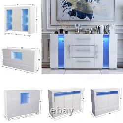 LED Sideboard Cabinet Cupboard Storage Unit High Gloss Front 1/2/3 Doors