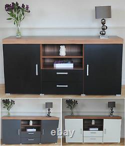 Large 2 Door 2 Drawer Sideboard Black White Grey Cupboard TV Cabinet Furniture