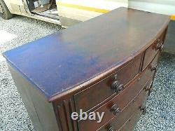 Large Antique Mahogany Victorian Bow Front Chest of 5 Graduated Drawers 2 over 3