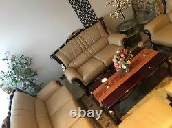 Mahogany & Gold Genuine Leather Italian 3 Sofas 2 Front Rest & Table Set