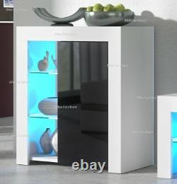 Modern Cabinet Cupboard sideboard Matt Body and High Gloss Doors + LED Light