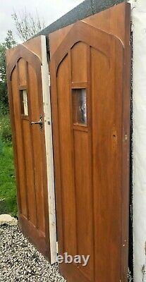 Pair or 2 x not solid oak wooden porch interior or front exterior gothic doors