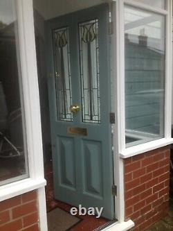 Porch With Windows And Hardwood Front Door! Made To Measure! Stained Glass