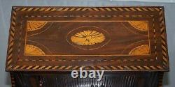 Rare 18th Century Dutch Marquetry Inlaid Side Table With Tambour Fronted Door