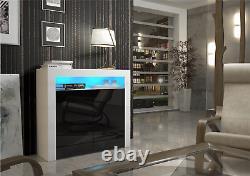 Rocca Sideboard Modern Cabinet / Cupboard Matt Body and High Gloss Doors + LED