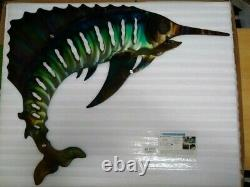 Sailfish large Front Porch Entry Patio Fence Ocean Beach Cottage Metal Wall Art
