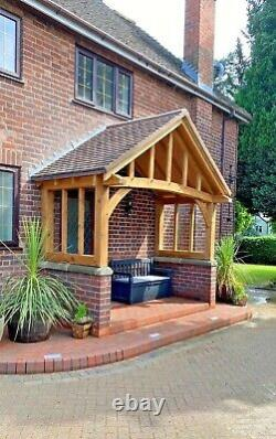 Solid Oak Porch With Full Curved Front Beam Bespoke designs & sizes made