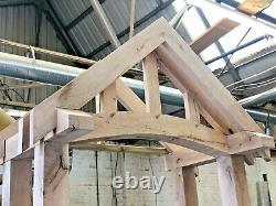 Solid Oak Porch, Wooden porch, Oak Canopy, Fully Curved Beam + Over hang Front