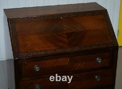 Stunning 1900's Mahogany Chippendale Drop Front Bureau Desk Lovely Timber Patina